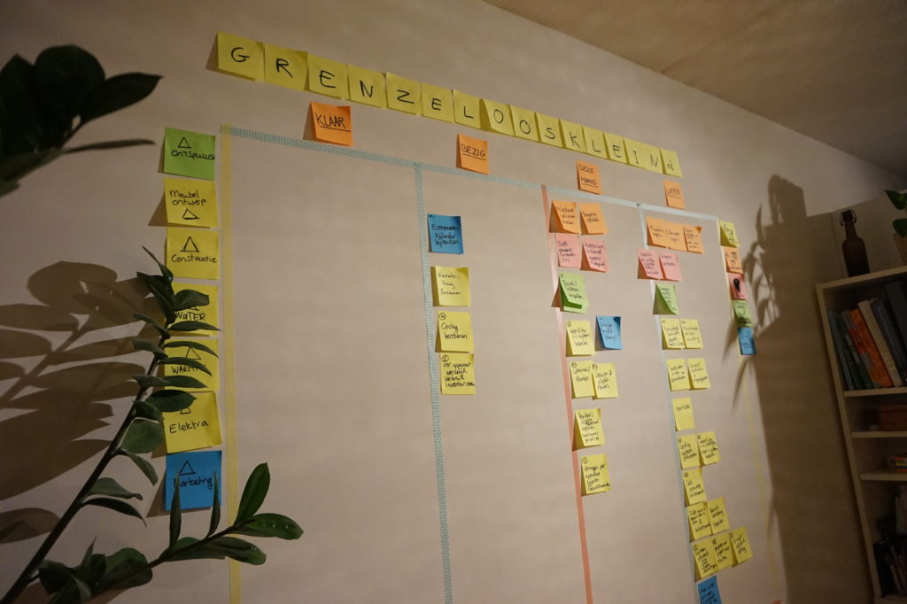 post it muur met projectplanning